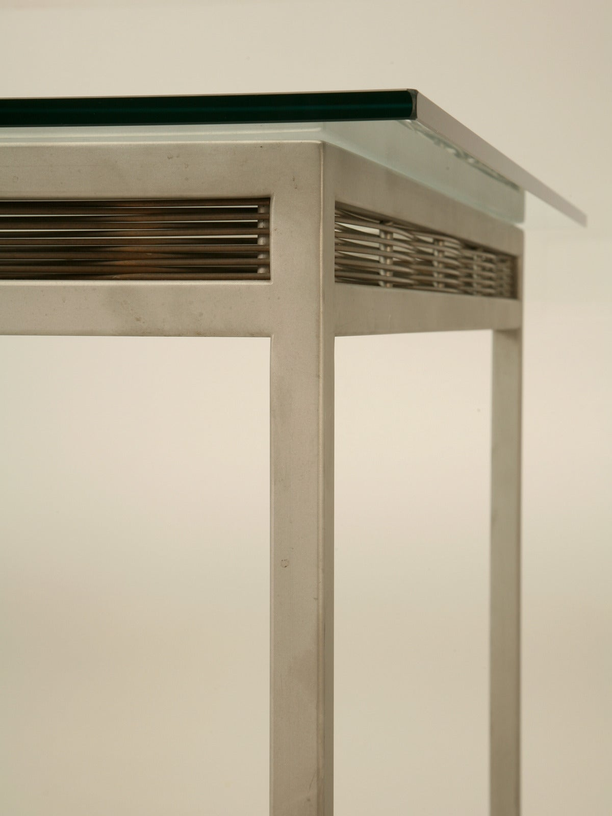 Stainless Steel and Glass Indoor or Outdoor Dining Table For Sale 3