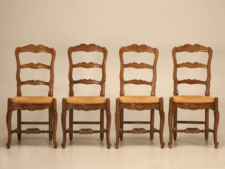 Set of 4 Vintage Country French Solid Wanut Ladderback Side Chairs at ...