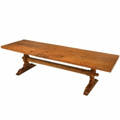 Spectacular Solid Antique French Oak One Board Top Trestle Farm Table