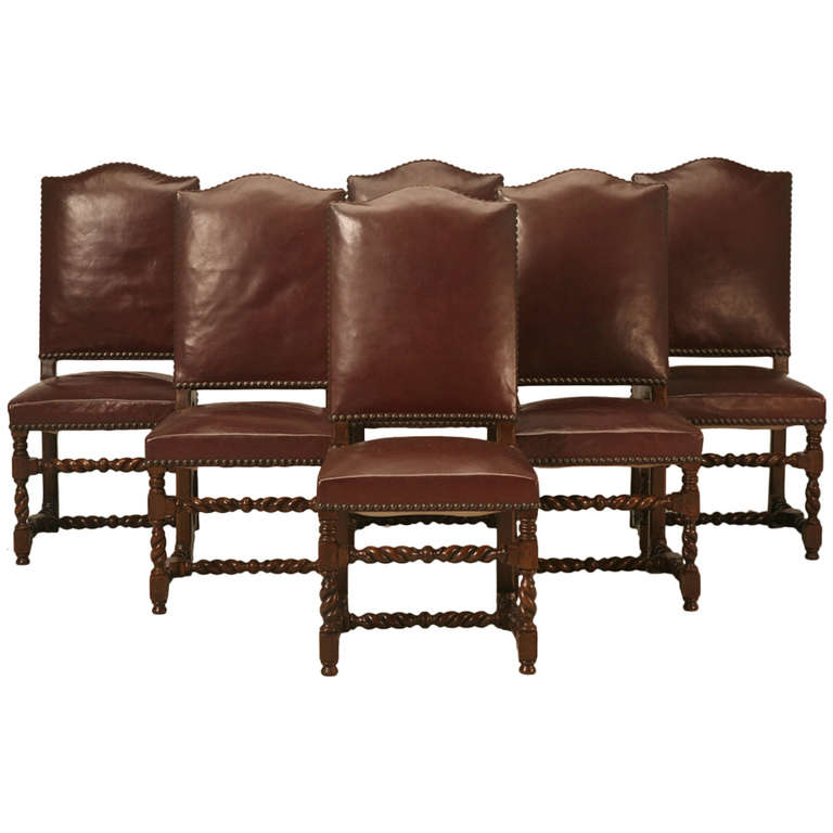 Set Of Six French Leather Barley Twist Dining Chairs Circa 1920 39 S At 1stdibs