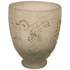 Signed Georges de Feure Molded Pressed Glass Vase