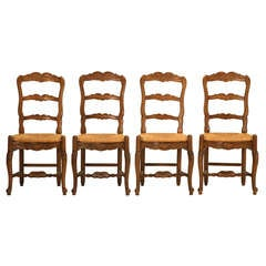 Set of 4 Vintage Country French Solid Wanut Ladderback Side Chairs