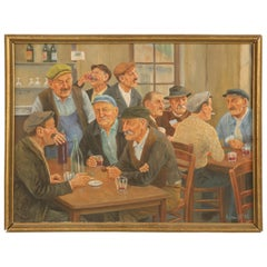 French Bar Painting by Victor Lefol