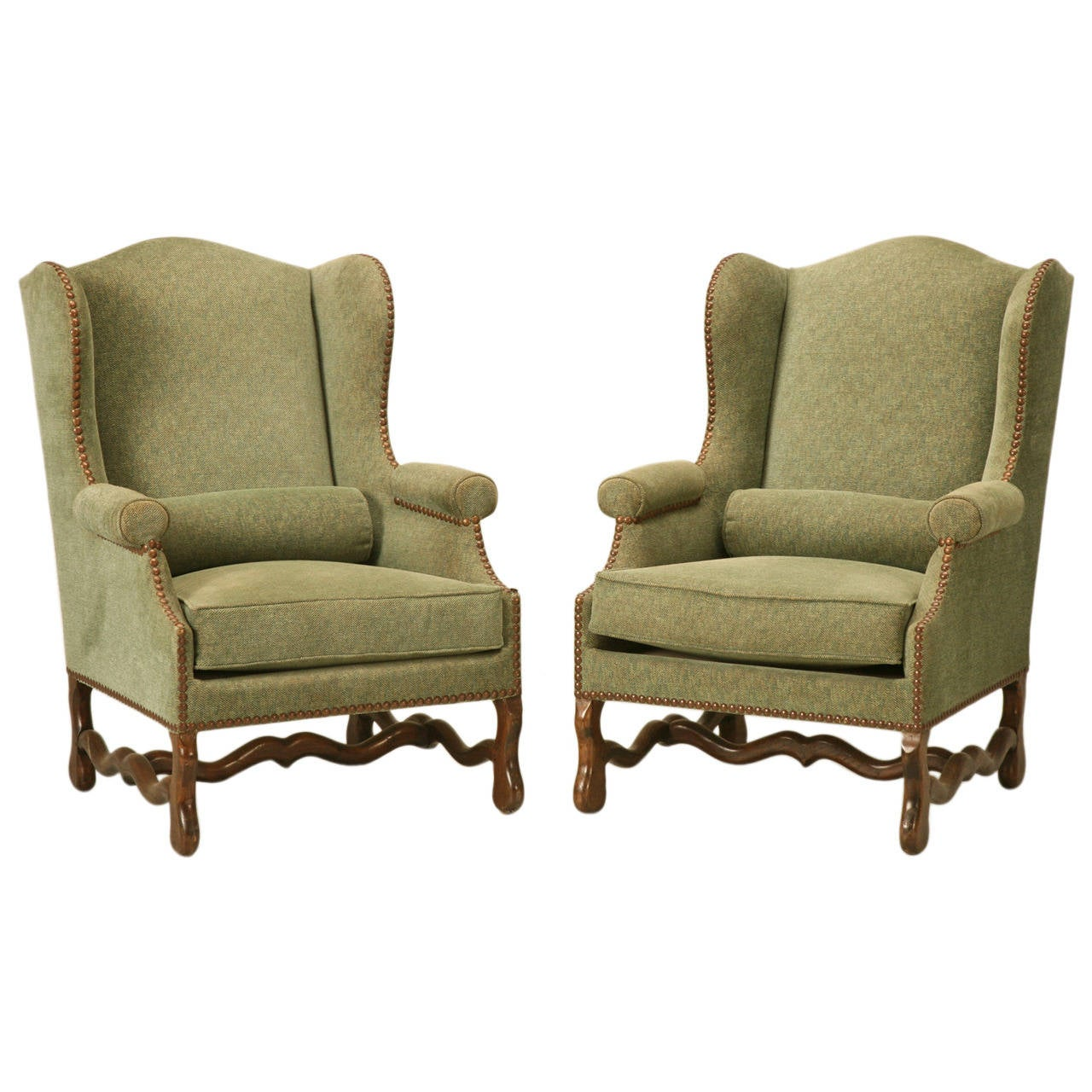 Vintage French Pair of Os de Mouton Wingback Armchairs
