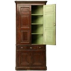 Antique English or Irish Georgian Faux Grained Pine Corner Cupboard All Original
