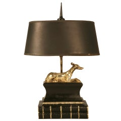Stately Vintage Chapman Desk or Table Lamp w/Statuesque Solid Brass Whippet Dog
