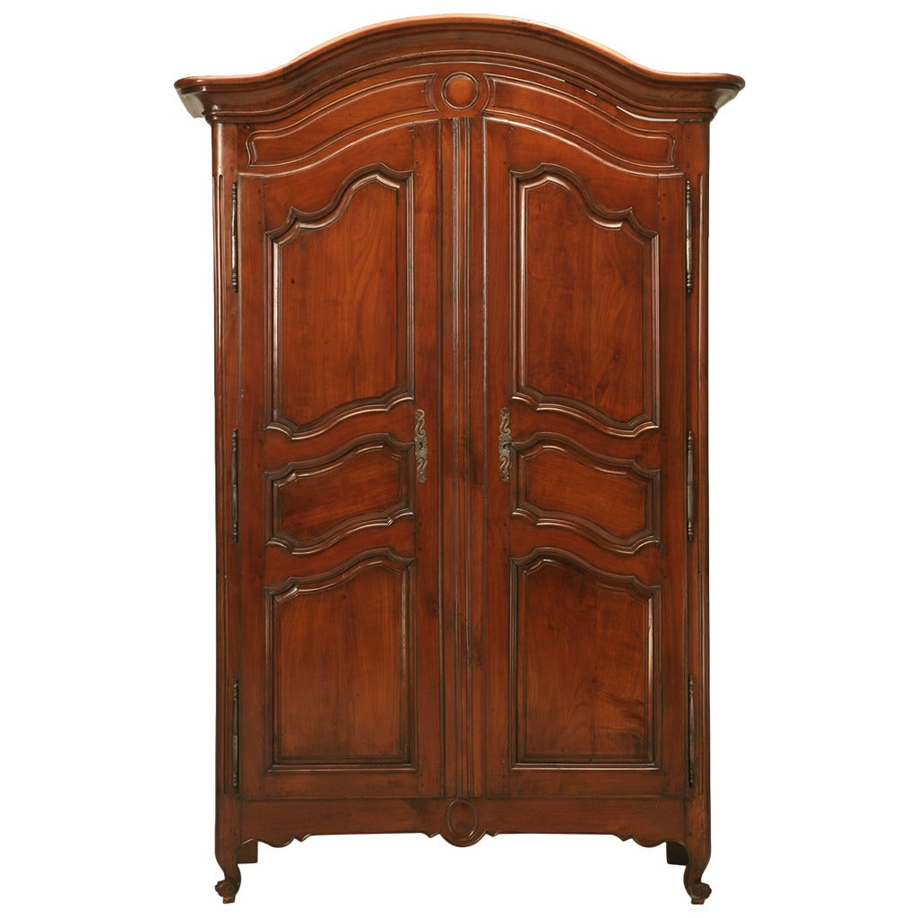 french louis xv style armoire in cherrywood circa 1800s. Black Bedroom Furniture Sets. Home Design Ideas