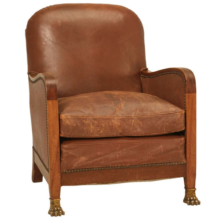 Circa 1940u0027s French Leather Club Chair With Unusual Paw Feet