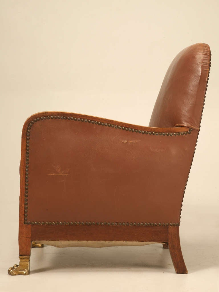 Circa 1940 39 S French Leather Club Chair With Unusual Paw Feet For Sale At 1stdibs