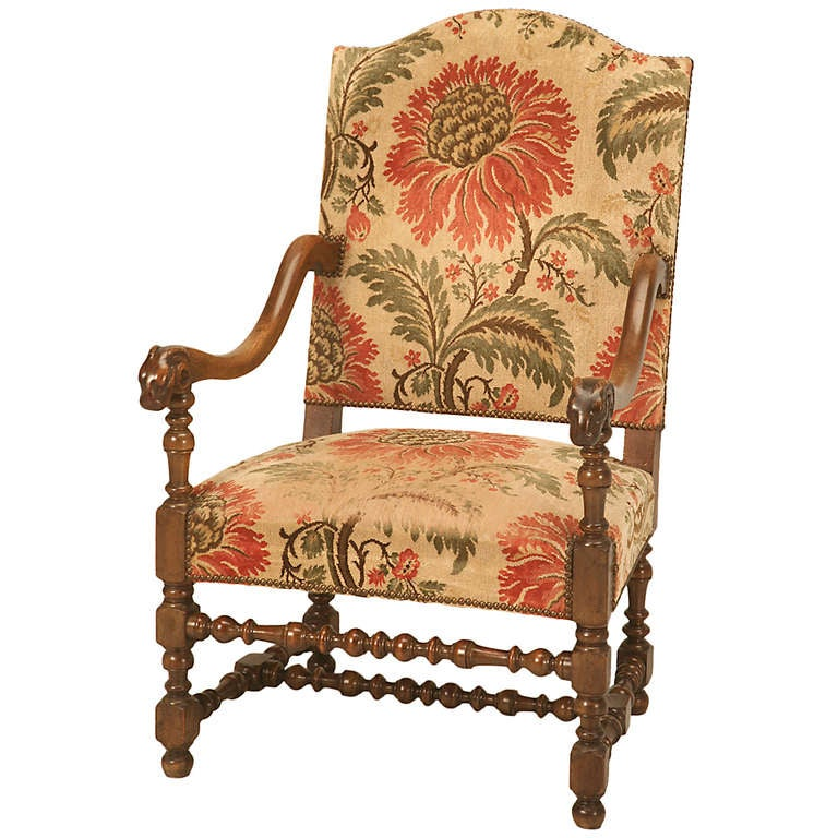 Magnificent Antique French Throne Chair w/Carved Ram Heads For Sale