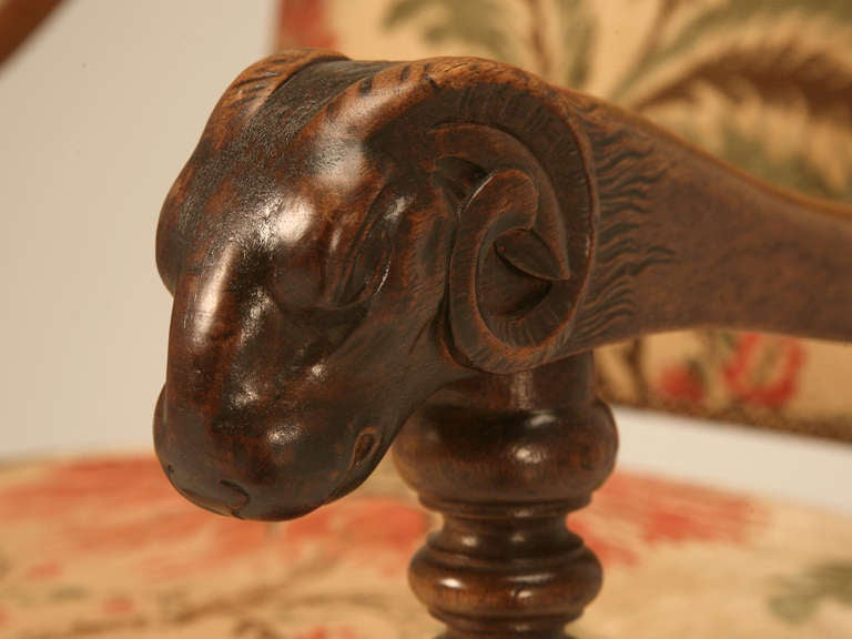 Magnificent Antique French Throne Chair w/Carved Ram Heads For Sale 1