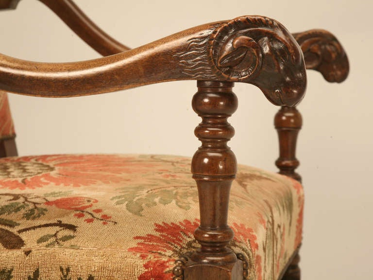 Magnificent Antique French Throne Chair w/Carved Ram Heads For Sale 2