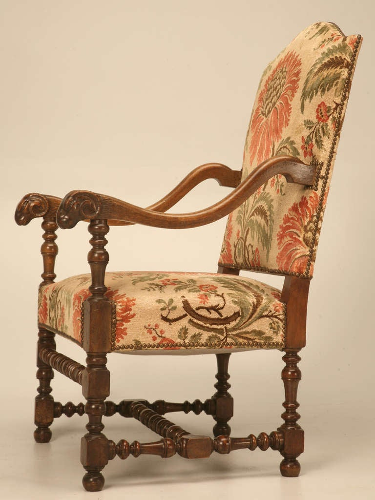 Magnificent Antique French Throne Chair w/Carved Ram Heads 9