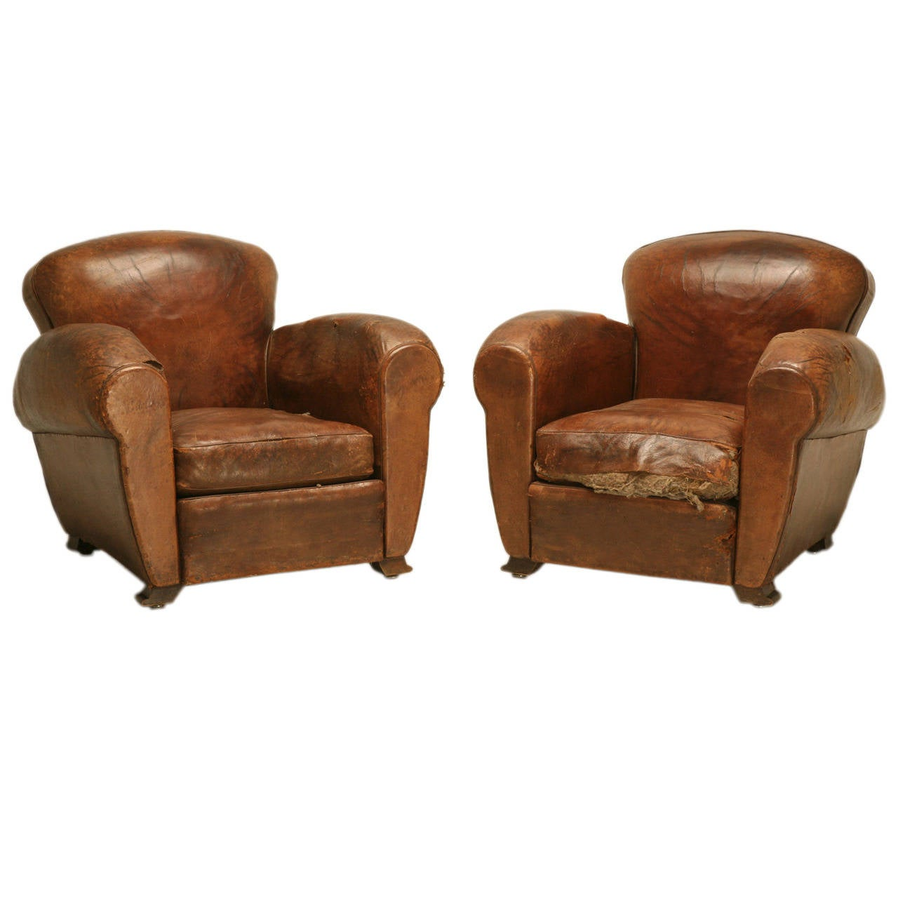 French Art Deco Leather Club Chairs Unrestored At 1stdibs