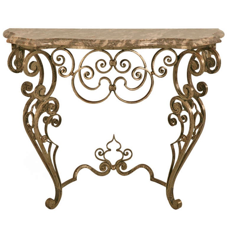 Stellar and ornate iron and stone console table w tremendous craftsmanship at 1stdibs - Ornate hall table ...