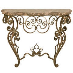 Stellar & Ornate Iron and Stone Console Table w/Tremendous Craftsmanship