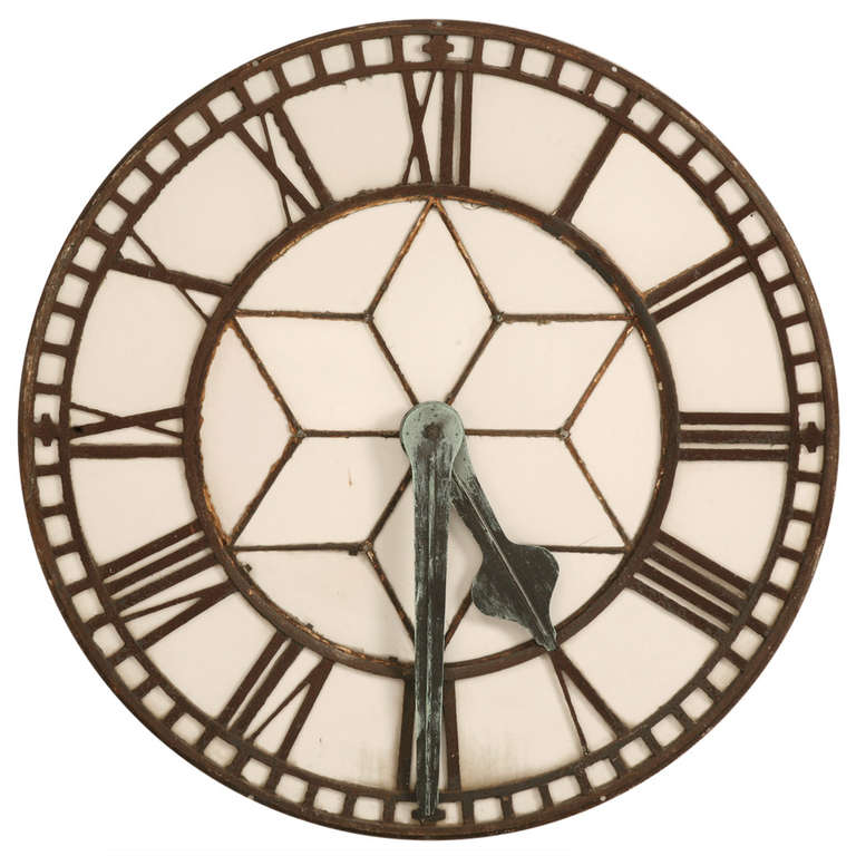 Cast Iron English Clock Face with Copper Hands, circa 1860