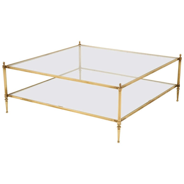 Huge Vintage French Brass And Glass Coffee Table Circa 1970s At 1stdibs