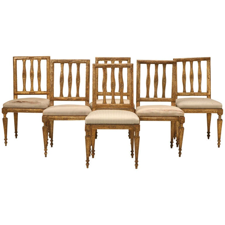 Set of Six Antique Italian Silverleaf Dining Chairs at 1stdibs