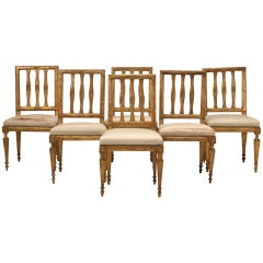 Set of Six Antique Italian Silverleaf Dining Chairs