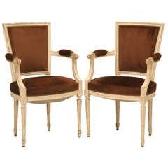 Striking Pair of Original Antique French Louis XVI Arm Chairs/Fauteuils