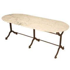 Original Antique French Six Leg Marble Double Length Bistro/Cafe Table