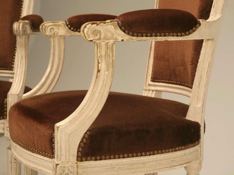 Pair of original antique french louis xvi arm chairs fauteuils image 5