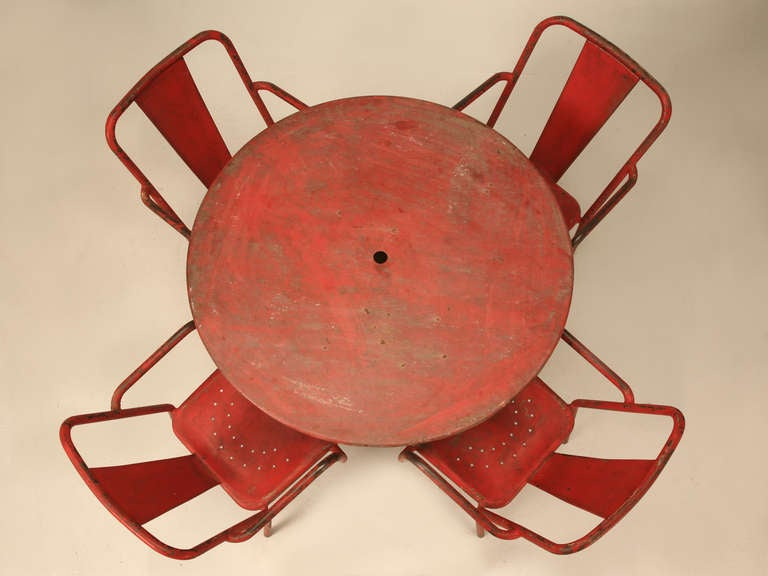 Industrial French 1950's Steel Garden Table and Six Chairs with Arms in Original Paint For Sale