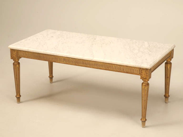 Vintage French Louis XVI Gilt Coffee Table W Marble Top At 1stdibs