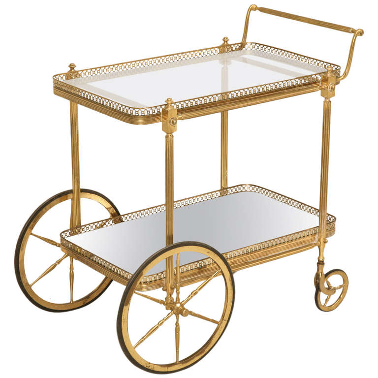 Vintage Solid Brass French Tea Cart Circa 1950s At 1stdibs