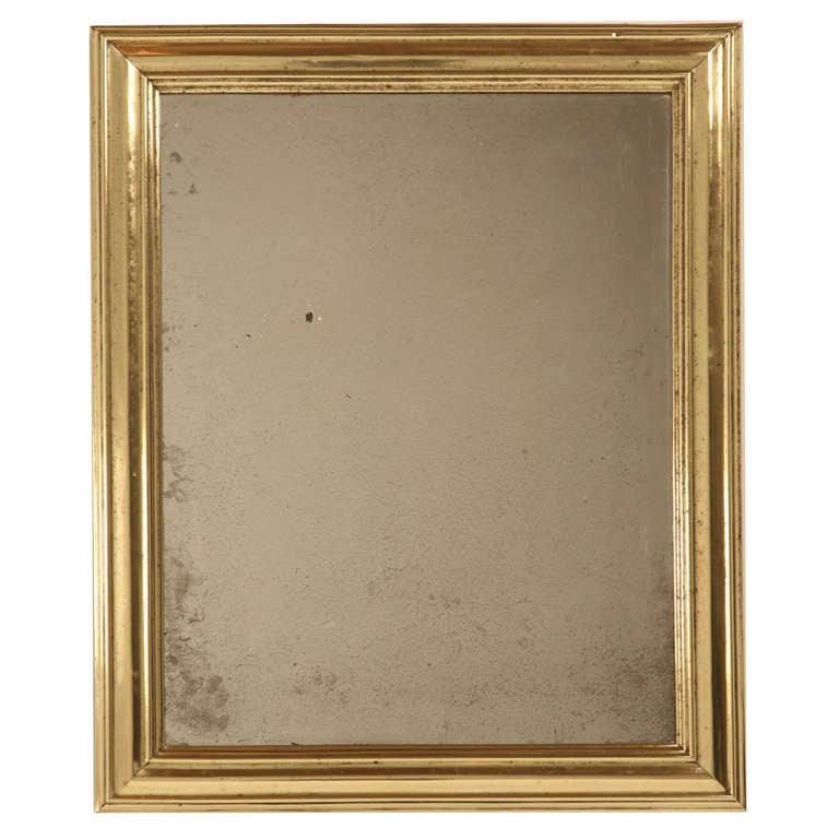 Amazing Original Antique French Brass Framed Bistro Mirror For Sale