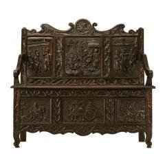 Antique French Hand-Carved Oak Medieval/Renaissance Settle