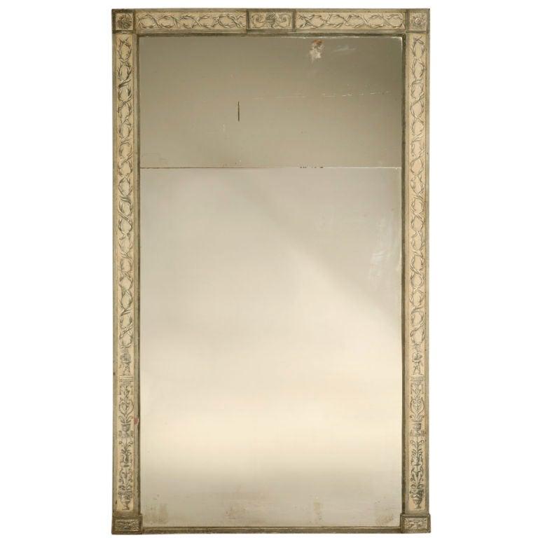 C 1850 antique italian urn and vine mirror woriginal for Glass floor mirror