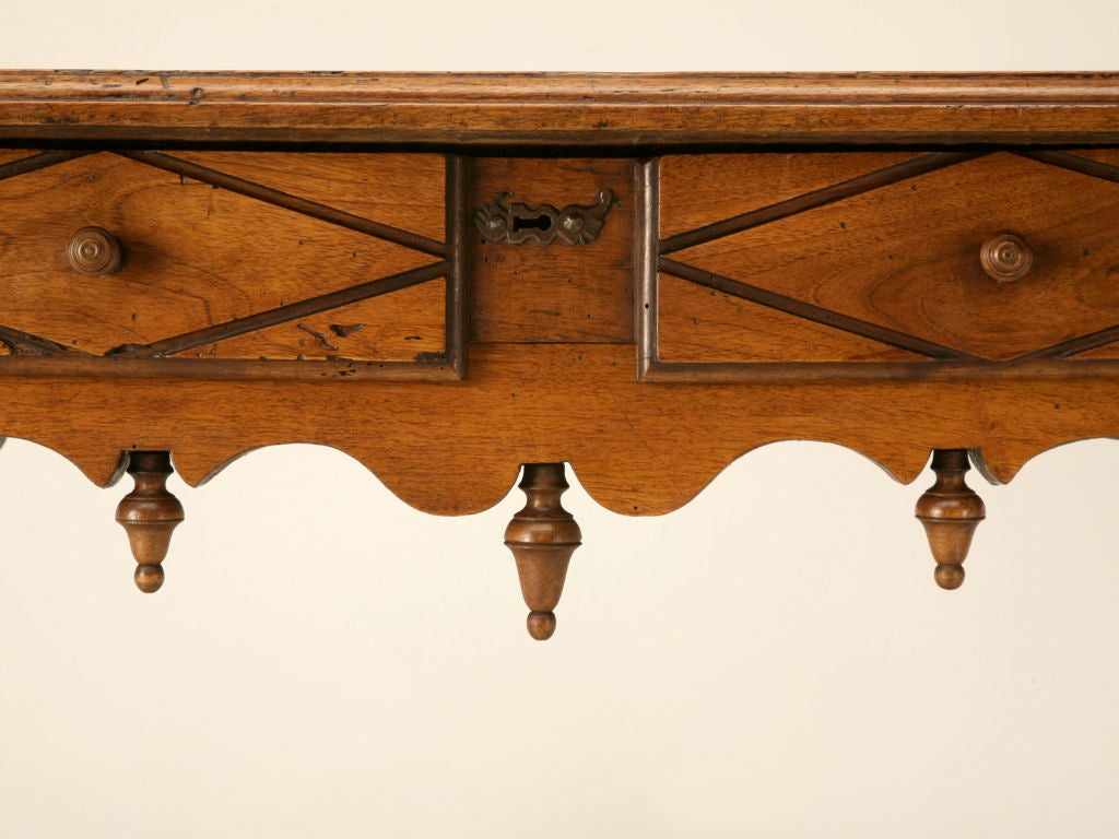 Romantic 18th C. Antique French Fruitwood Writing Table with Drawer For Sale