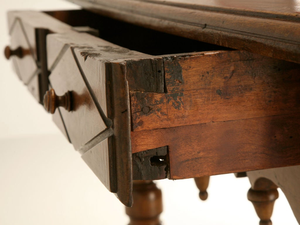 18th Century and Earlier 18th C. Antique French Fruitwood Writing Table with Drawer For Sale