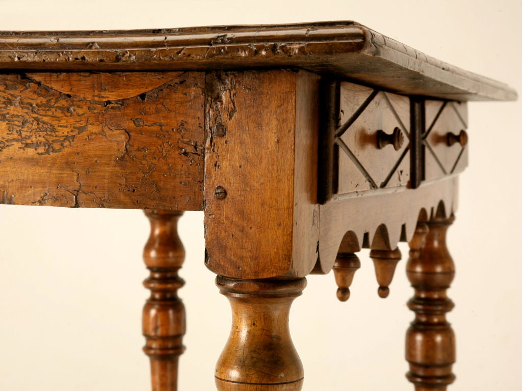 18th C. Antique French Fruitwood Writing Table with Drawer For Sale 1
