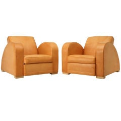 """Vintage French Pair of  Dynamite Art Deco """"Roadster"""" Club Chairs"""