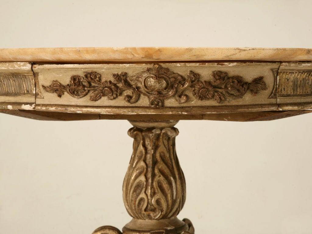 Antique Italian Original Paint & Polychrome Tea Table with Onyx Top 4
