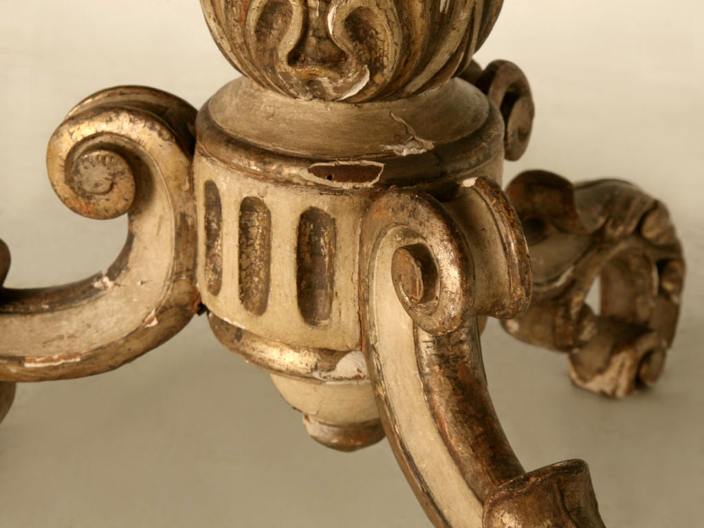 Antique Italian Original Paint & Polychrome Tea Table with Onyx Top 8