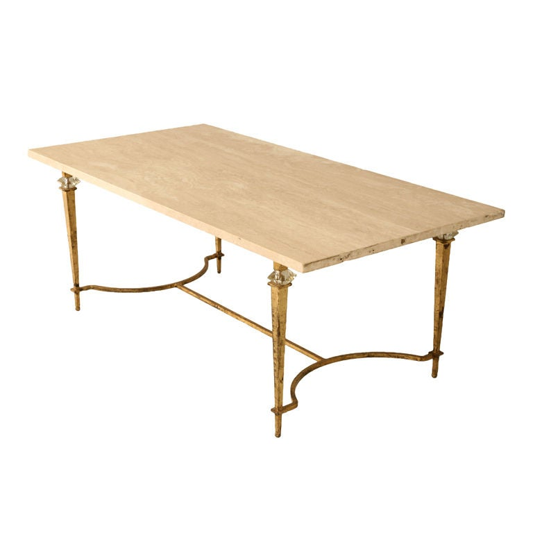 Circa 1940 French Maison Bagues Travertine Top Coffee Table At 1stdibs