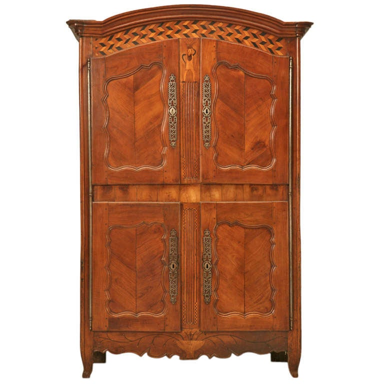Antique french armoire with whimsical features c1700 39 s at - Armoire quatre portes ...