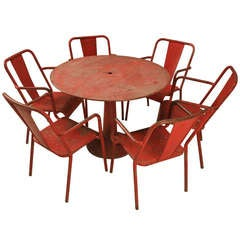French 1950's Steel Garden Table and Six Chairs with Arms in Original Paint