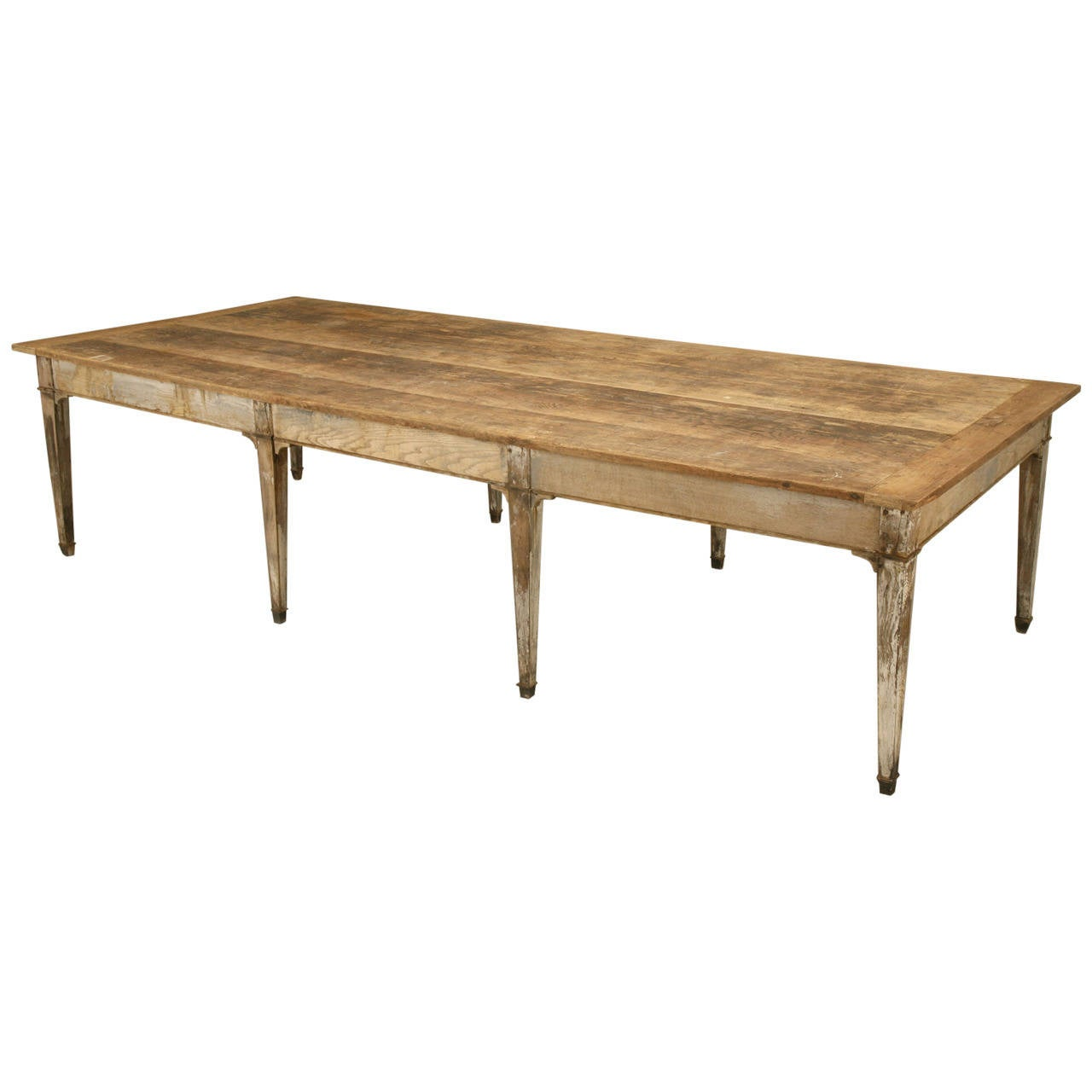 Antique Farm Table With Old Paint At 1stdibs