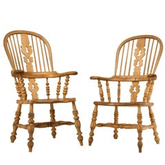 Antique English His & Her's Elm and Oak Windsor Chairs