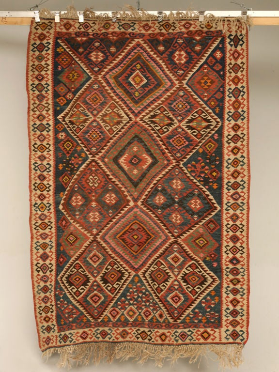 Circa1930 Persian Kilim Geometric Patterned Rug For Sale