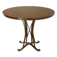 Vintage French Flat Iron Based Bistro Table w/Cherry Wood Top