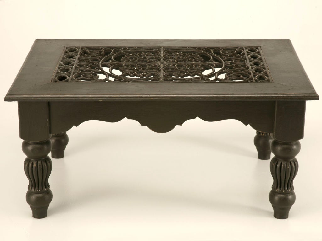 Painted Vintage English Coffee Table W Antique Grate At