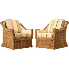 Circa 1970's Pair of Original Vintage American Wicker Chairs