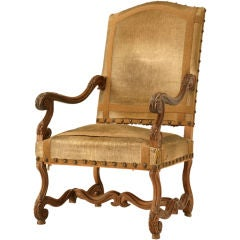 Circa 1880 Antique French Hand-Carved Walnut LXIII Throne Chair