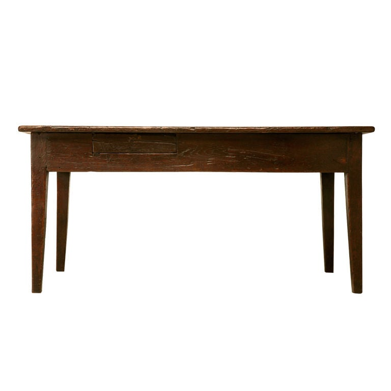 18th C Rustic French Solid Oak Farm Table Or Desk With